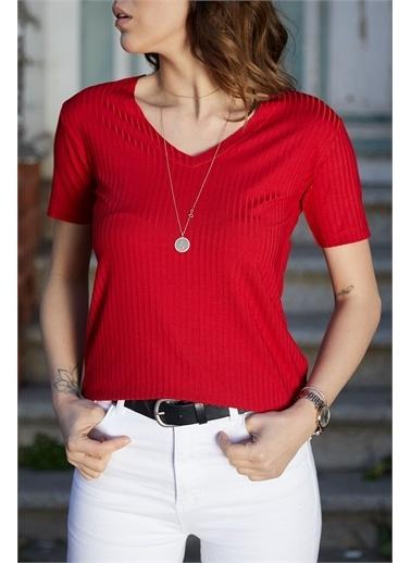 XHAN V Yaka Fitilli Bluz 0Yxk2-43357-52 Kırmızı